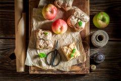 Hecho en casa llévese la empanada de manzana con la migaja y la menta foto de archivo libre de regalías