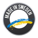 Hecho en el logotipo de la insignia de la etiqueta de Suecia certificado Fotos de archivo