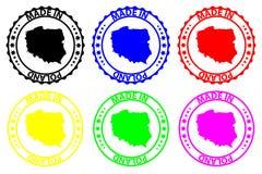 Hecho en el sello de goma de Polonia ilustración del vector