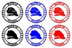 Hecho en el sello de goma de Senegal ilustración del vector