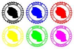Hecho en el sello de goma de Tanzania