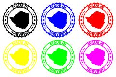 Hecho en el sello de goma de Zimbabwe
