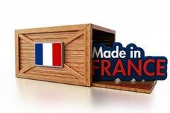 Hecho en el texto de Francia dentro de la caja del cargo con la bandera de China ilustración 3D stock de ilustración