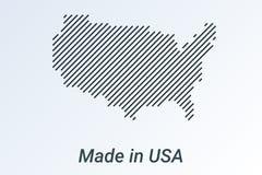 Hecho en Estados Unidos, mapa rayado en una tira negra en un fondo de plata ilustración del vector