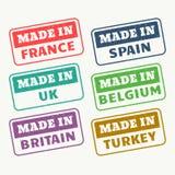 Hecho en Francia, España, Reino Unido, Bélgica, Gran Bretaña y los sellos turky fijados stock de ilustración
