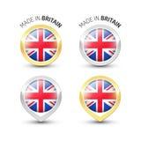 Hecho en Gran Bretaña Reino Unido - etiquetas redondas con las banderas libre illustration