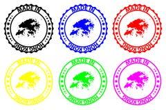 Hecho en Hong Kong - sello de goma - vector, stock de ilustración