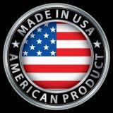 Hecho en la etiqueta americana de la plata del producto de los E.E.U.U. con la bandera Fotografía de archivo libre de regalías