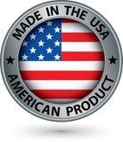 Hecho en la etiqueta americana de la plata del producto de los E.E.U.U. con la bandera, vector stock de ilustración