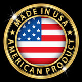 Hecho en la etiqueta americana del oro del producto de los E.E.U.U., vector IL Fotografía de archivo