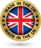 Hecho en la etiqueta BRITÁNICA del oro, vector Imagen de archivo libre de regalías