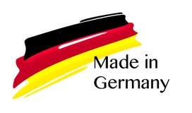 Hecho en la etiqueta de Alemania con la bandera alemana Fotografía de archivo