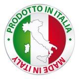 Hecho en la etiqueta de Italia Imagen de archivo libre de regalías