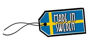 Hecho en la etiqueta de Suecia Foto de archivo