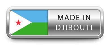 HECHO EN la insignia metálica de DJIBOUTI con la bandera nacional aislada en el fondo blanco ilustración del vector