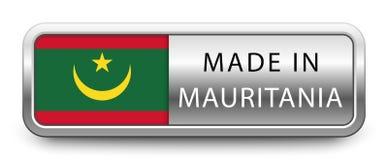 HECHO EN la insignia metálica de MAURITANIA con la bandera nacional aislada en el fondo blanco ilustración del vector