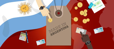 Hecho en la transacción comercial patriótica de la exportación de la insignia del ejemplo del precio de la Argentina stock de ilustración