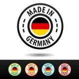 Hecho en las insignias de Alemania con la bandera alemana Imágenes de archivo libres de regalías