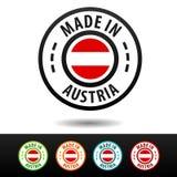 Hecho en las insignias de Austria con la bandera de Austria Foto de archivo libre de regalías
