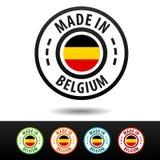 Hecho en las insignias de Bélgica con la bandera de Bélgica Imágenes de archivo libres de regalías