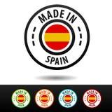 Hecho en las insignias de España con la bandera española Foto de archivo