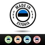 Hecho en las insignias de Estonia con la bandera estonia Fotos de archivo libres de regalías