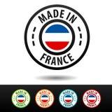Hecho en las insignias de Francia con la bandera francesa Foto de archivo libre de regalías
