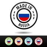 Hecho en las insignias de Rusia con la bandera rusa Fotografía de archivo libre de regalías