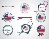 Hecho en los E.E.U.U. - sistema de sellos, insignias Fotos de archivo libres de regalías