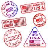 Hecho en los sellos de América Imágenes de archivo libres de regalías