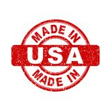 Hecho en sello rojo de los E.E.U.U. Imagenes de archivo