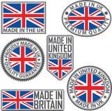 Hecho en sistema de etiqueta BRITÁNICO con la bandera, hecha en el Reino Unido, illustrat del vector Fotografía de archivo libre de regalías