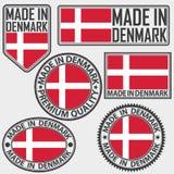 Hecho en sistema de etiqueta de Dinamarca con la bandera, hecha en Dinamarca, enfermedad del vector Fotografía de archivo