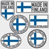 Hecho en sistema de etiqueta de Finlandia con la bandera, hecha en Finlandia, enfermedad del vector Imagen de archivo