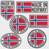 Hecho en sistema de etiqueta de Noruega con la bandera, hecha en Noruega, illus del vector Fotografía de archivo libre de regalías