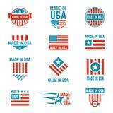 Hecho en sistema del emblema de la bandera de los E.E.U.U. Fotos de archivo libres de regalías