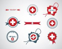 Hecho en Suiza - sistema de sellos, insignias Foto de archivo