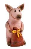 Hecho a mano: cerdo con un bolso del mone Fotos de archivo libres de regalías