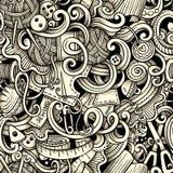 Hecho a mano dibujada mano de la historieta y la costura garabatea el modelo inconsútil Imagen de archivo libre de regalías