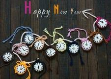 Hecho a mano, reloj, Feliz Año Nuevo 2016, tiempo Imagen de archivo libre de regalías