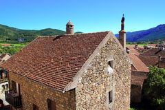 Hecho Valley Pyrenees village roof and mountain Stock Photography