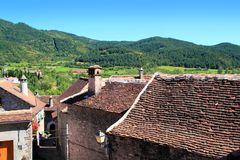 Hecho Valley Pyrenees village roof and mountain Royalty Free Stock Photos