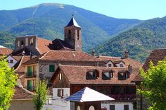 Hecho Valley Pyrenees village roof and mountain Royalty Free Stock Images