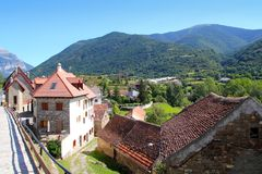 Hecho valley village stone streets in Pyrenees Royalty Free Stock Photo
