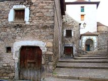 Hecho valley village stone streets in Pyrenees Royalty Free Stock Photography