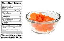 Hechos alimenticios de zanahorias Imagen de archivo libre de regalías
