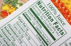 Hechos de la nutrición Imagenes de archivo