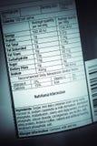 Hechos de la nutrición Imágenes de archivo libres de regalías