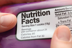 Hechos de la nutrición Foto de archivo libre de regalías