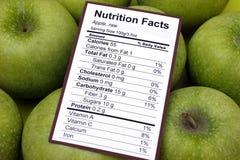 Hechos de la nutrición de manzanas crudas fotografía de archivo